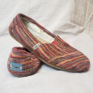 TOMS Knit Alpargata Shoes w Faux Fur Lining -Used